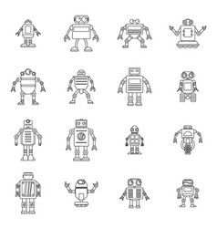 Robot icons set outline style vector