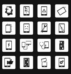 device repair symbols icons set squares vector image