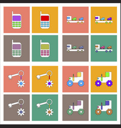 set of kids toys in flet icons on color vector image