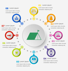 Infographic template with camping icons vector