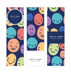 Funny faces vertical banners set pattern vector