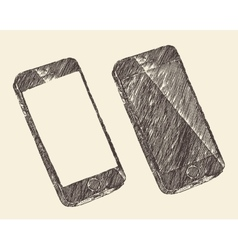 Hand drawn black mobile phone sketch vector