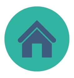 Home flat cobalt and cyan colors round button vector