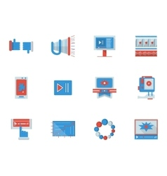 Social media flat color icons vector