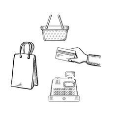 Shopping and market sketch icons set vector