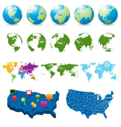 Globes and maps collection vector