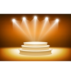 3d orange illuminated stage podium for award vector