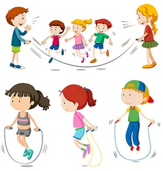 Boys and girls jumping rope vector image