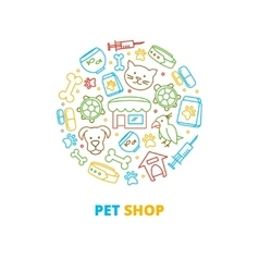 Pet shops veterinary clinics and homeless animals vector