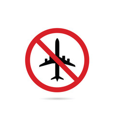 Airplane sign in red color vector