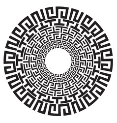 Ancient greek round meander key black and white vector