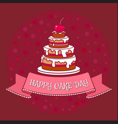big cake with chocolate icing cream and cherry vector image vector image