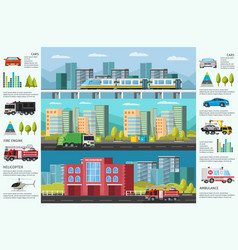 City transport infographic horizontal banners vector