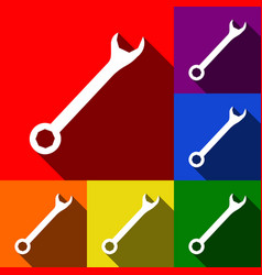 Crossed wrenches sign set of icons with vector