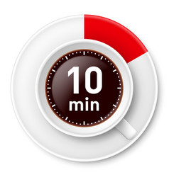 cup of coffee with time limit for break ten vector image