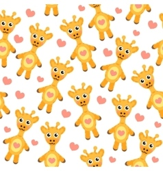 Cute cartoon giraffe seamless texture vector image