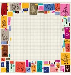 Cute robots collage cartoon doodle border vector