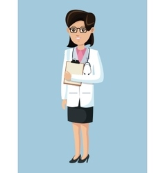 Doctor woman medical clipboard stethoscope vector