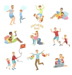 Fathers day set of dads playing with vector