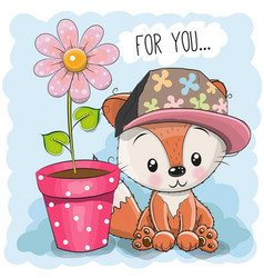 Greeting card cute cartoon fox vector