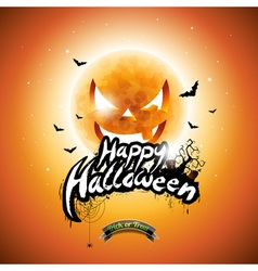 Halloween Party Flyer Design with pumpkin moon vector image vector image