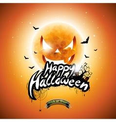 Halloween party flyer design with pumpkin moon vector