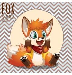Happy little orange fox cartoon character vector