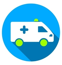 Hospital car flat round icon with long shadow vector