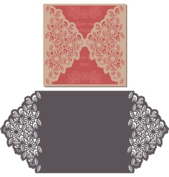 Laser cut pattern for invitation card for wedding vector