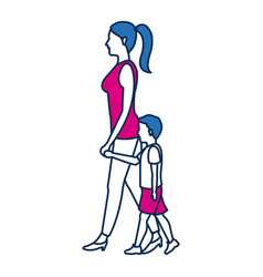 Mother walking her son holding hands vector