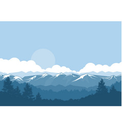 Mountains and forest foggy landscape with vector