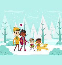 multiethnic family walking in winter snowy forest vector image vector image