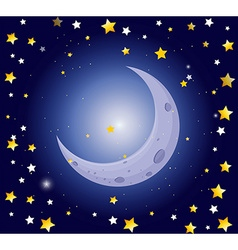Night scene with moon and stars vector