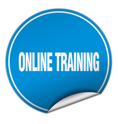 Online training round blue sticker isolated on vector
