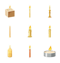 Paraffin candles icons set cartoon style vector