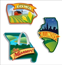 Retro of illinois missouri iowa vector