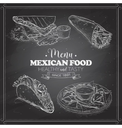 scetch of mexican food menu on a black board vector image vector image