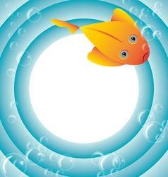 Sea frame with fish and bubbles vector