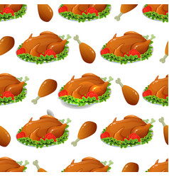 Seamless pattern with thanksgiving turkey vector