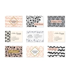 Set of business cards with hand drawn elements vector