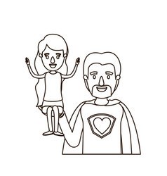 Sketch contour caricature half body super dad hero vector