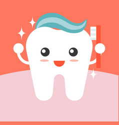 Tooth cleaning itself with toothpaste vector