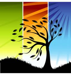 tree silhouette color background vector image vector image
