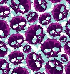 Violet skulls seamless pattern geometric vector image