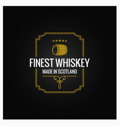 Whiskey logo dark label design background vector
