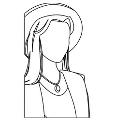 Woman no face fashionable model outline vector