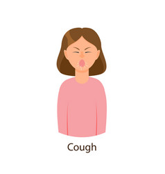 Young sick girl suffering from cough vector