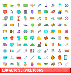 100 auto service icons set cartoon style vector