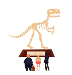 Kids in museum looking at dinosaur skeleton vector