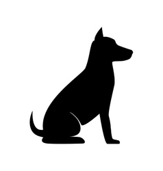 dog sit silhouette vector image
